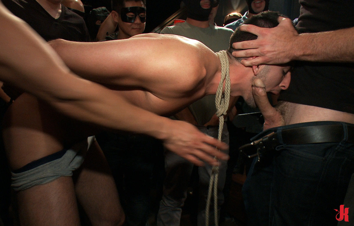 Forced Bondage Sex bound in public - gay hunk hanged in ropes and forced to
